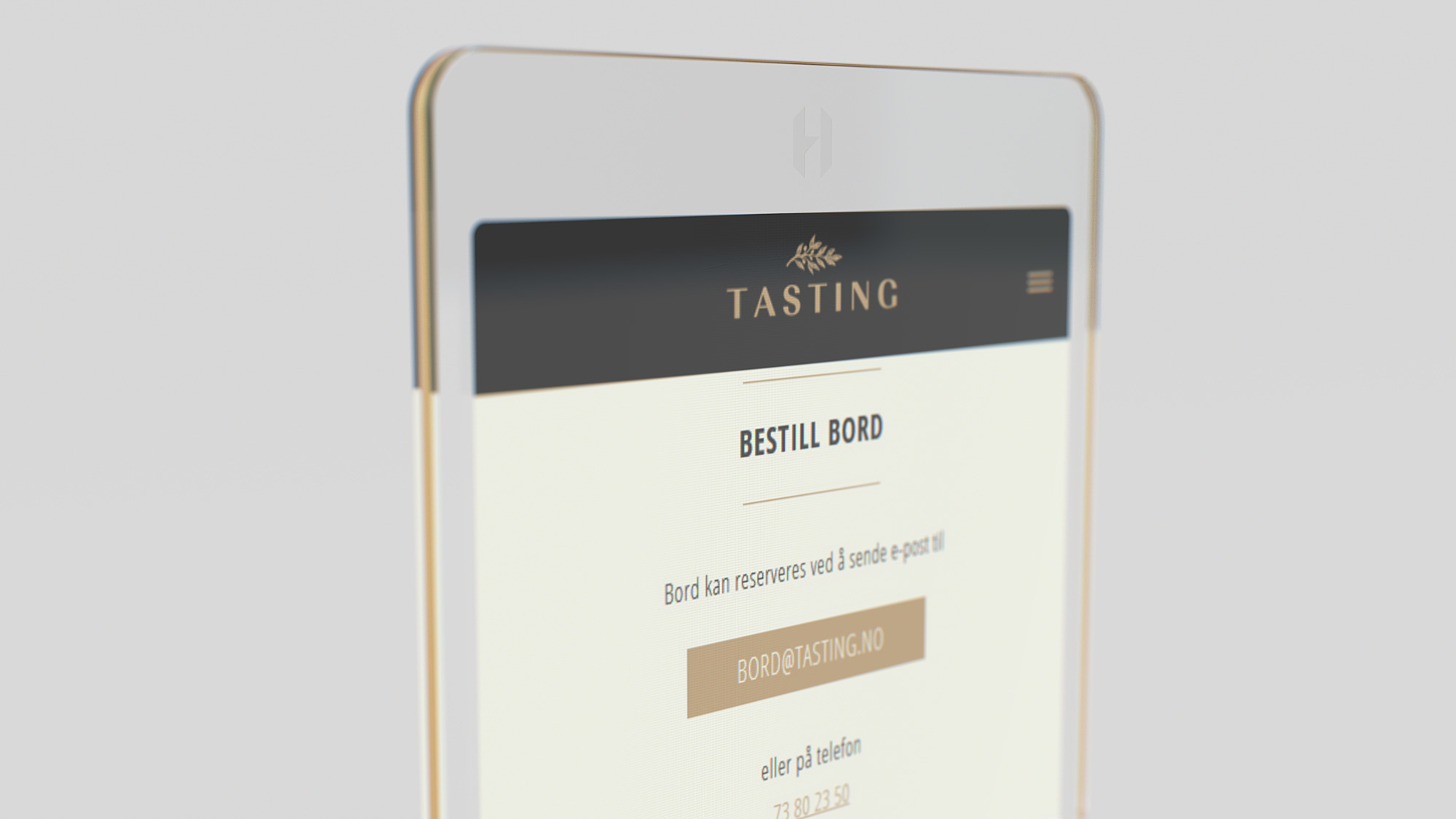 Nærbilde av smarttelefon med visning av Tasting logo og meny. Foto