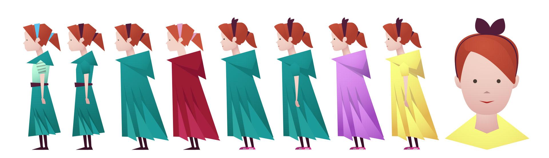 fargeskisser for å finne riktig fargesammensetning av jenta