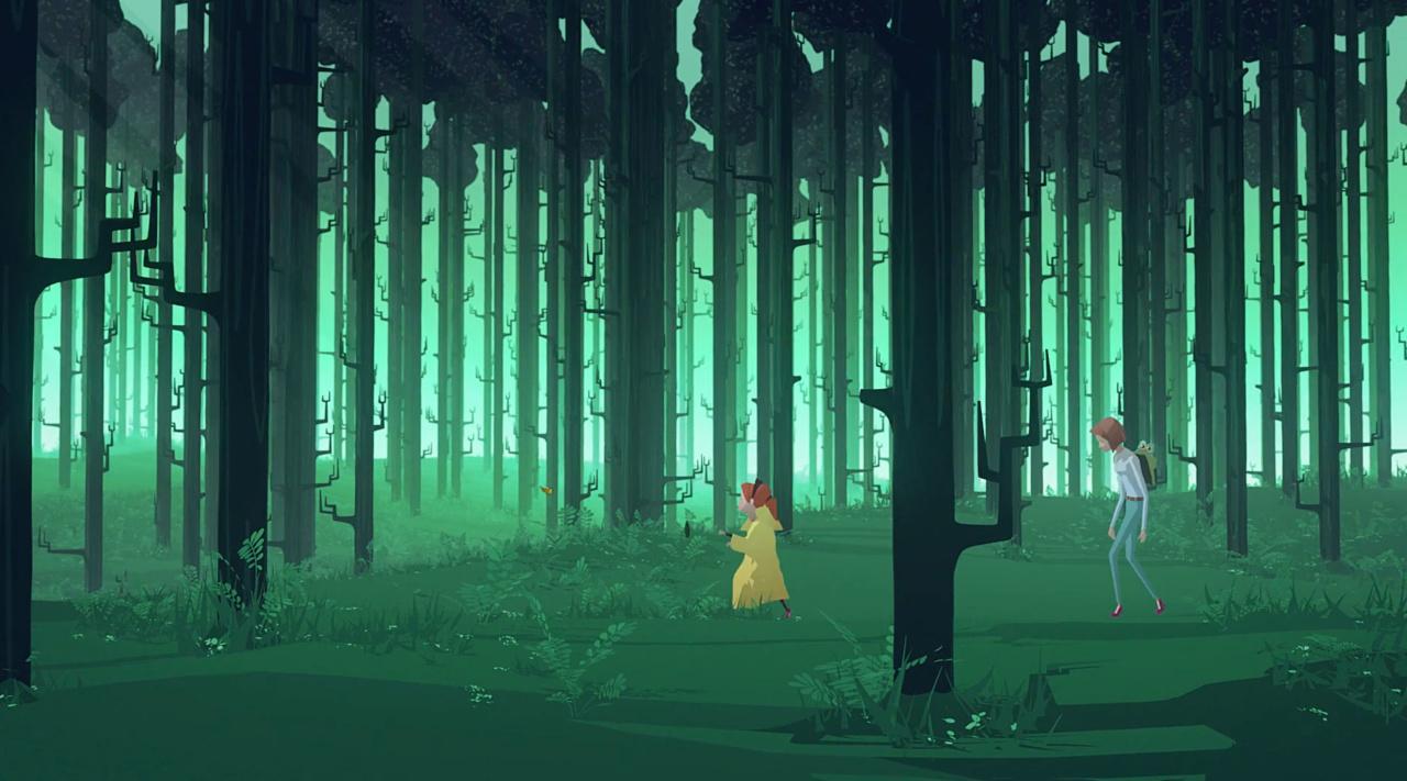 Moren og barnet i skogen, som er badet i grønt lys
