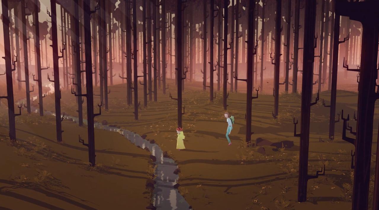 Moren og barmet i skogen som er badet ii rødt lys