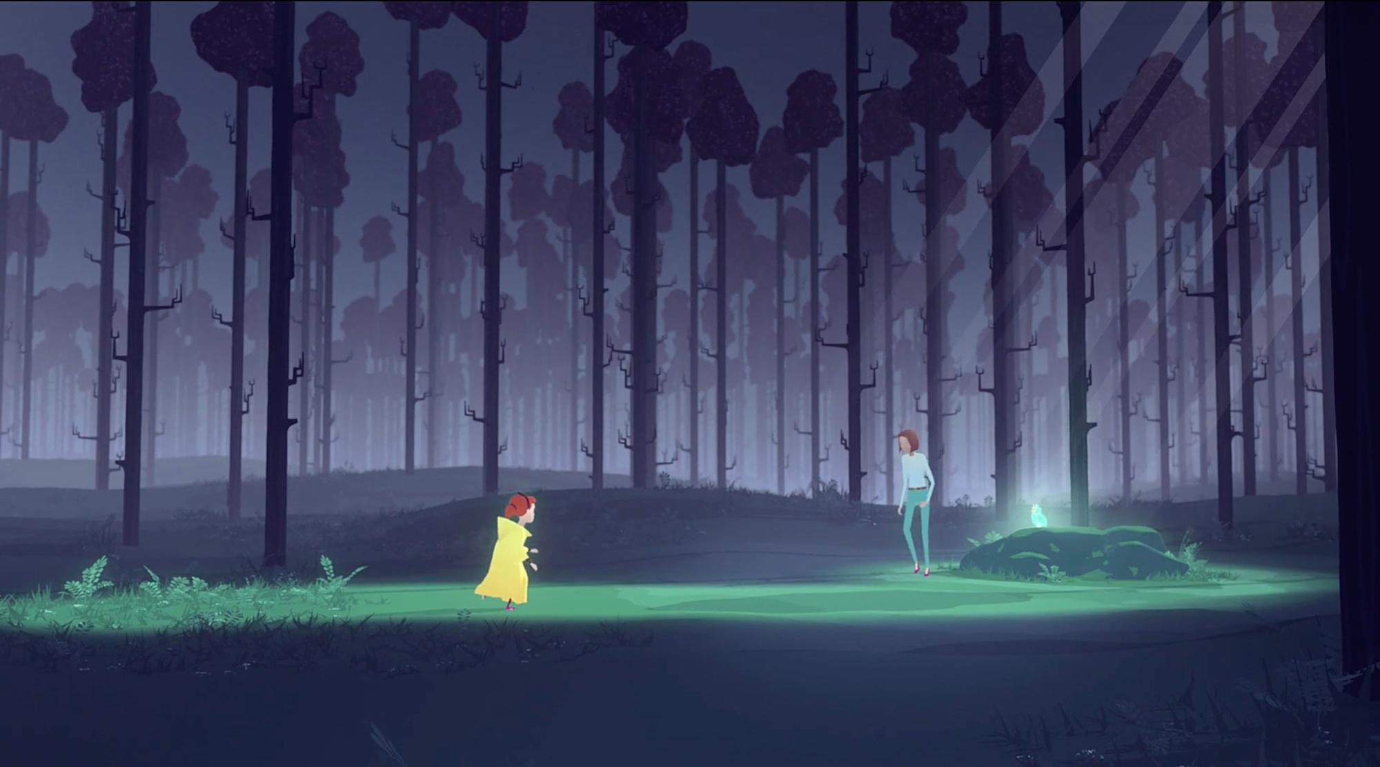 Moren og datteren møtes i skogen