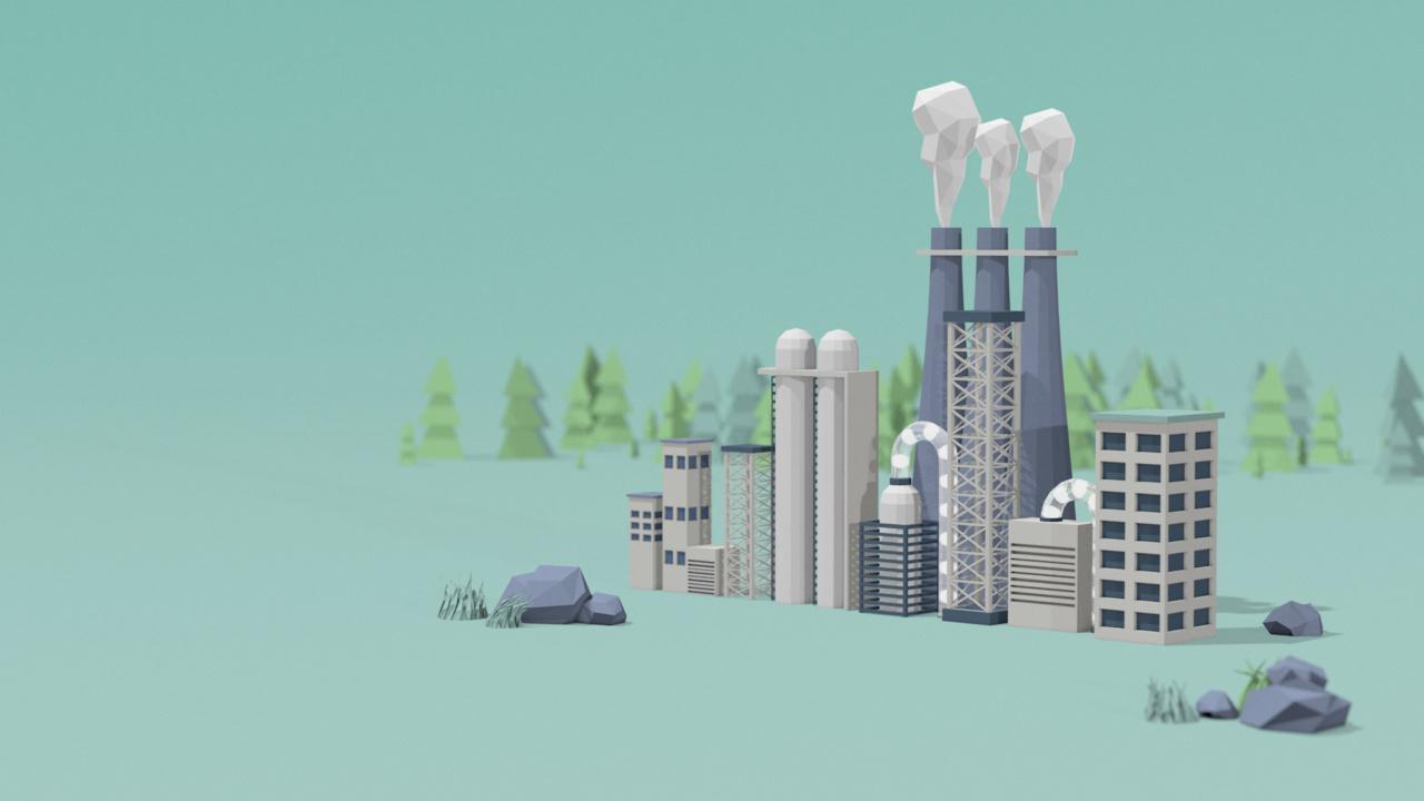 stillbilde av fabrikk fra animasjon om rensing av CO2 i industrien