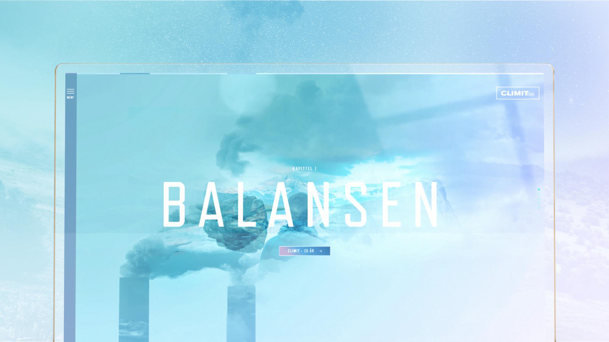 åpningsbildet på kampanjesiden som viser en himmel med dobbelteksponerte fabrikkpiper i horisonten